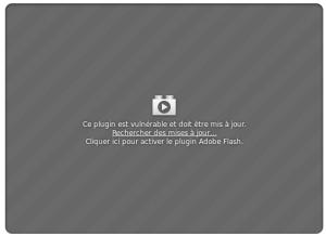 """Message de sécurité à propos du plugin """"Flash"""""""